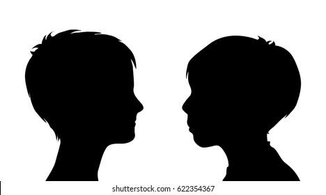 Vector Silhouette Children On White Background Stock Vector ...