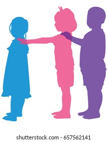 Vector silhouette of Children playing, Kids walking in a row line holding forward guy by shoulders with hands and facing his back. Playing millipede game.