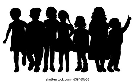 Vector, silhouette of children together walking