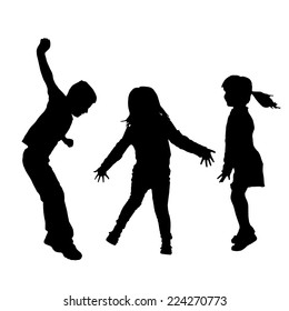 Vector silhouette of children who play on a white background.