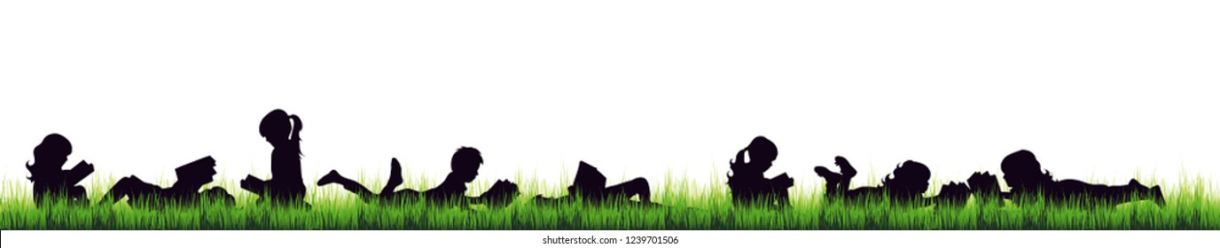 Vector silhouette of children who read on the garden on white background.