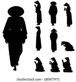 Vector silhouette of Chinese on white background.