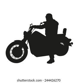 Vector silhouette of chopper motorbike