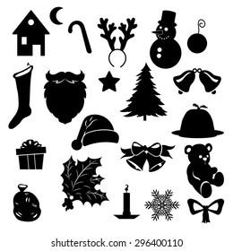 A Vector Silhouette of  Christmas and New Year symbols isolated on white.