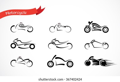 vector Silhouette  of classic motorcycle.  icon collection