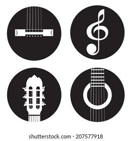 Vector silhouette of classical acoustic guitar themed icons on white background