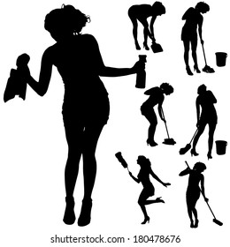Vector silhouette of a cleaning lady on a white background.