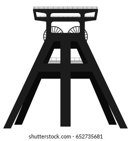 Vector silhouette of coal mine headframe isolated on white background. EPS10