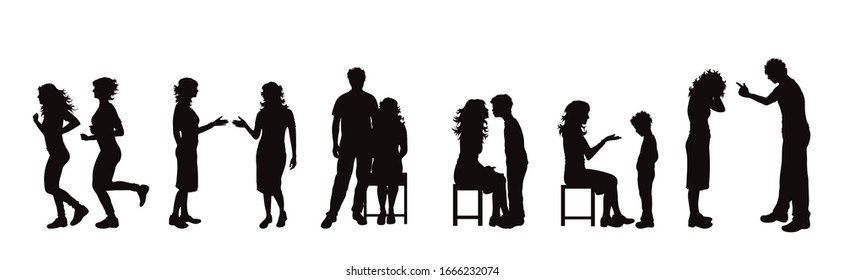 Vector silhouette of collection of couple in different pose on white background. Symbol of people.