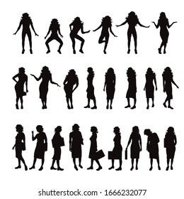 Vector silhouette of collection of women in different pose on white background. Symbol of people.