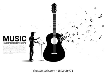 Vector silhouette of conductor with music melody note dancing flow shape guitar icon . Concept background for song and guitar concert theme.