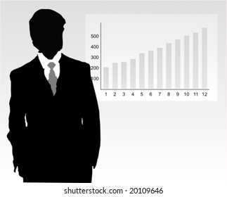 Vector: silhouette of a confident businessman