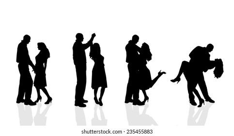 Vector silhouette of couple dancing on a white background.
