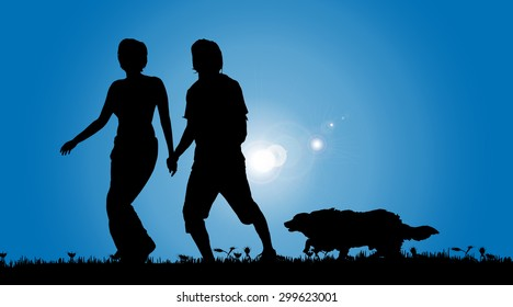 Vector silhouette of a couple with a dog on a meadow.