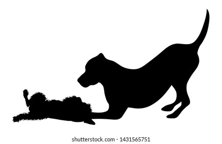 Vector silhouette of couple of dogs. Symbol of animal friends on white background.