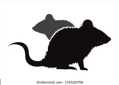 Vector silhouette of couple of mouse. Symbol of rodent.