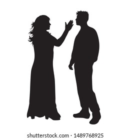 Vector silhouette of couple on white background. Symbol of wife, husband,violence, slap,aggression,conflict.
