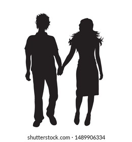 Vector silhouette of couple on white background. Symbol of pair,walk.