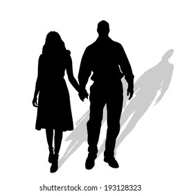 Vector silhouette of couple on a white background.