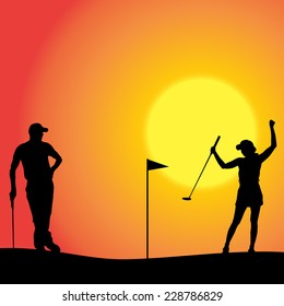 Vector silhouette of couple playing golf at sunset.