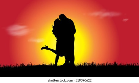 Vector silhouette of a couple at sunset.