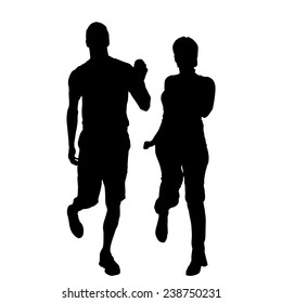 Vector silhouette of couple that runs on a white background.