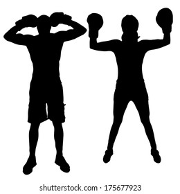 Vector silhouette of couple who boxes on a white background.