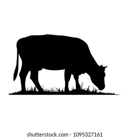 Vector silhouette of the cow. Farm animal on the grass of the pasture.