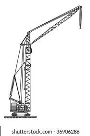 vector silhouette crane on white background