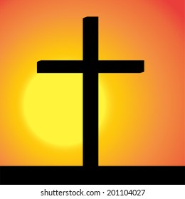 Vector silhouette of the cross at sunset.