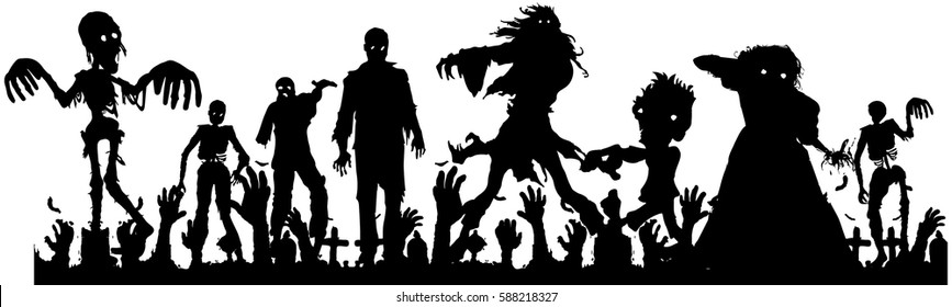 vector silhouette of  crowd of the zombies in the graveyard, tombstones  on the cemetery