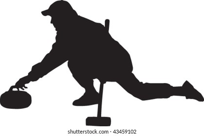 Vector silhouette of a curler delivering a stone.