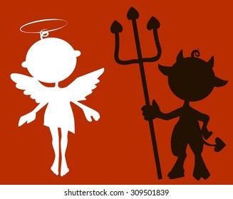 Vector silhouette cute little Devil and Angel
