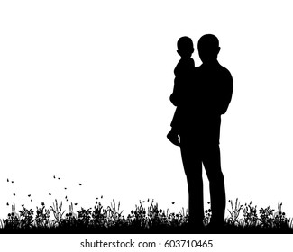 Vector, silhouette of dad and child