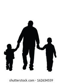 Vector Silhouette of a dad and his boys holding hands