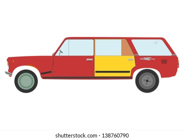 Vector silhouette of damaged station wagon car.