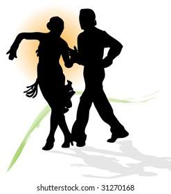 Vector silhouette of dancers couple dancing latin salsa