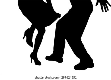 Vector silhouette of a dancing couple on a white background.