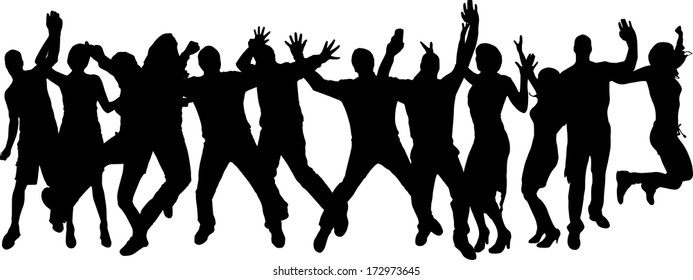Vector silhouette dancing and entertainers with people.