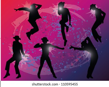 vector silhouette of the dancing men on a colored background