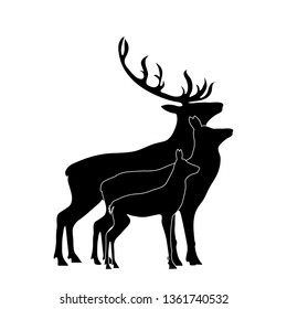 Vector silhouette of deer, hind, and baby hind. Symbol of animal and wild.