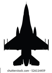 Vector silhouette of the detailed fighter jet F-16.