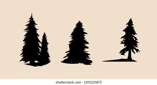 Vector silhouette of different pine trees. Pine trees illustration set, Black silhouette Trees vector, Pine tree vector illustration
