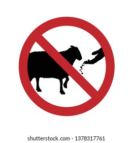 Vector silhouette of do not feed the sheep ban mark on a white background. Symbol of animal,warning,farm.