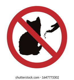 Vector silhouette of do not feeding cat mark on white background. Symbol of prohibition.