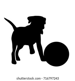 Vector silhouette of dog with ball on white background.