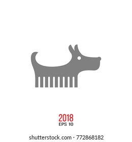 Vector silhouette of dog breed, dog logo icon isolated on white background. The year of dog on chinese calendar. Happy Chinese New Year 2018