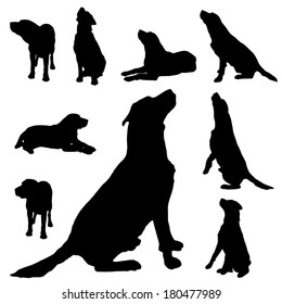Vector silhouette of a dog on white background.