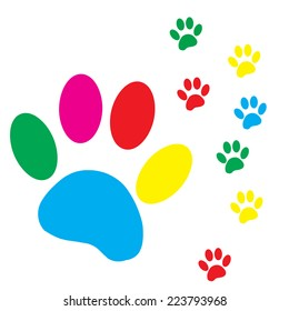 Vector silhouette dog paw on a white background.