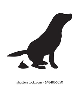 Vector silhouette dog poop mark on white background. Symbol of animal,poo,excrement.